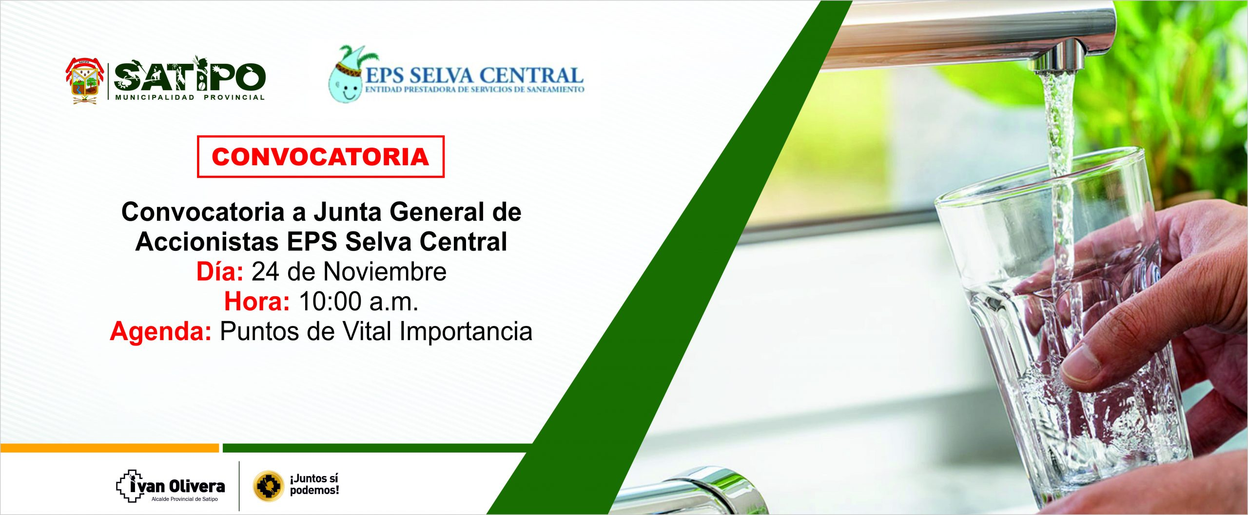 Convocatoria a Junta General de  Accionistas EPS Selva Central